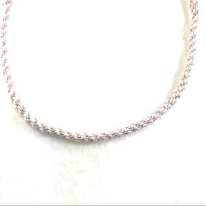 Jewelry - Kumihimo Woven Cord Neckless Pink and Silver.